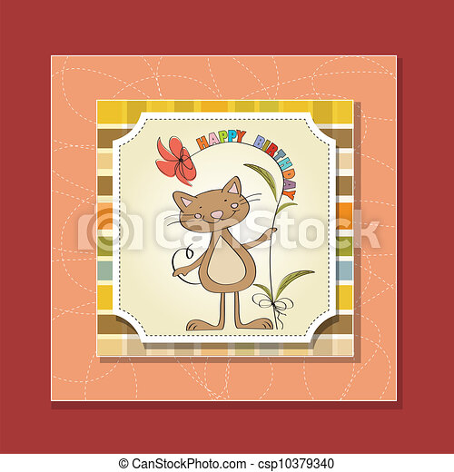 birthday card with funny cat - csp10379340