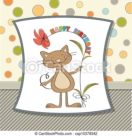 birthday card with funny cat - csp10379342