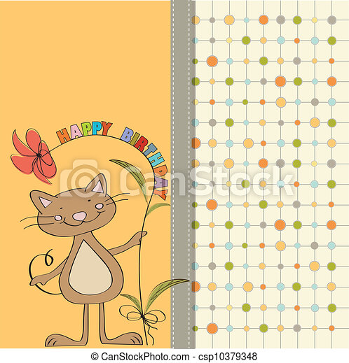 birthday card with funny cat - csp10379348