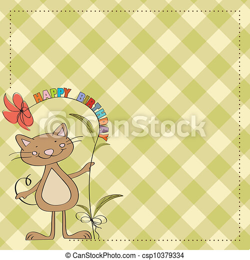 birthday card with funny cat - csp10379334