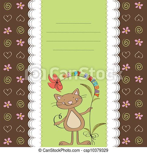 birthday card with funny cat - csp10379329