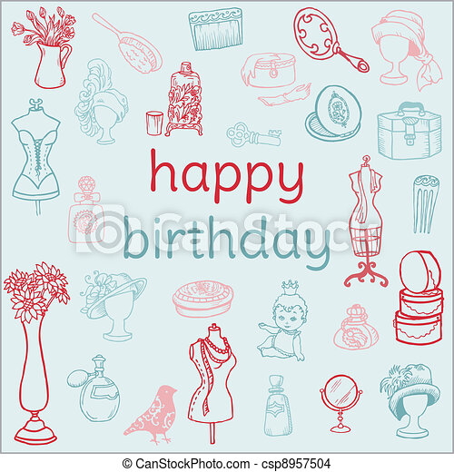Birthday Card With Hand Drawn Elements For Scrapbook Invitation