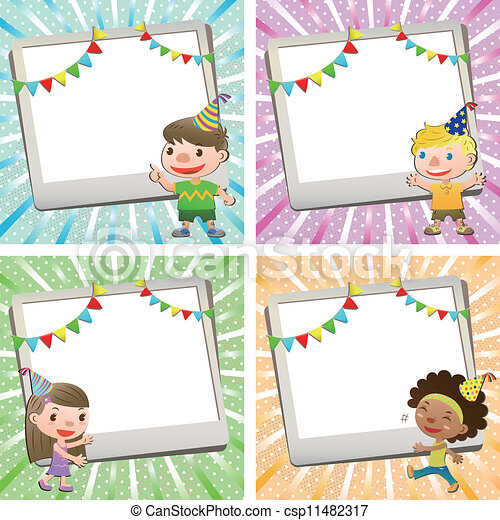 Birthday card with lovely kid vector clip art search illustration birthday card with lovely kid csp11482317 bookmarktalkfo Choice Image