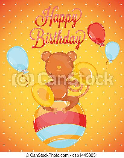 Birthday Card With Monkey Birthday Card Style Circus Monkey On A