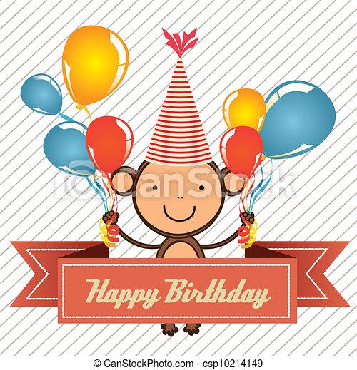 Birthday Card With Monkey