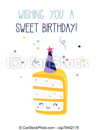 birthday card with piece of cake and confetti - csp78442179