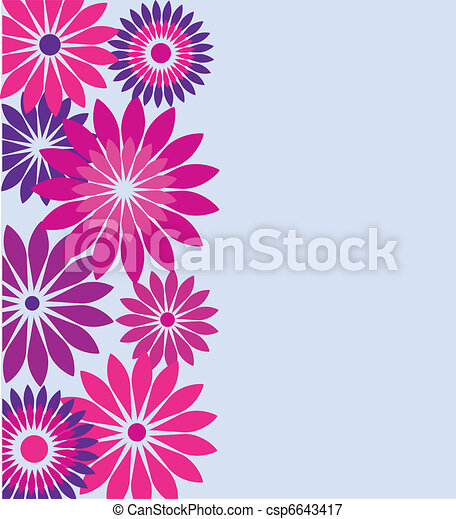 Birthday Card With Pink And Purple Flowers Vector