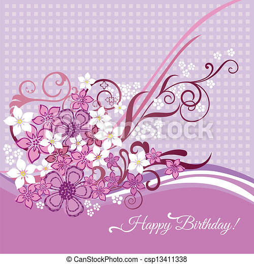 Birthday card with pink flowers - csp13411338