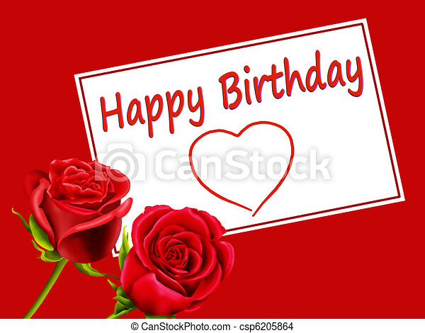 Birthday Card With Roses And Heart