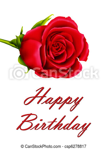 Birthday Card With Single Red Rose Birthday Card With A Single Red