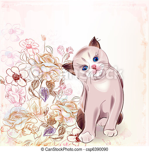 Birthday Card With Thai Kitten And Roseswatercolor Style