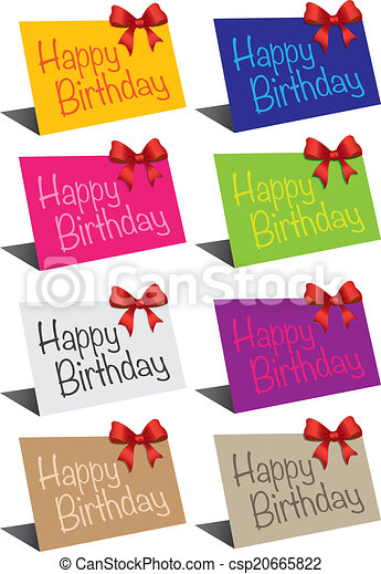 Birthday Cards A Set Of Standing Birthday Card In Different Colors