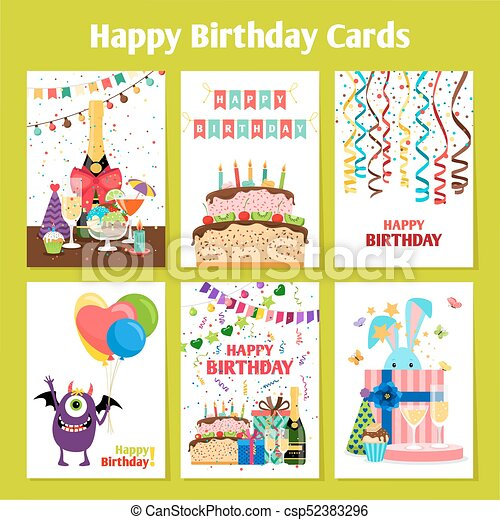 Birthday cards set - csp52383296
