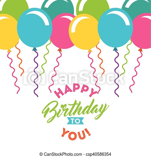 Birthday celebration with balloons air party vector clipart