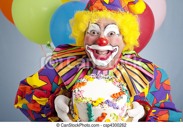 Birthday Clown with Blank Cake - csp4300262