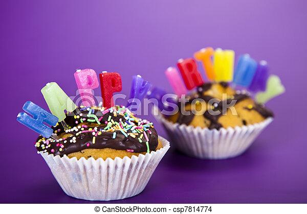 Birthday cupcake - csp7814774