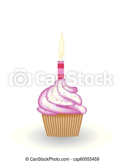 Birthday Cupcake With Candle Vector