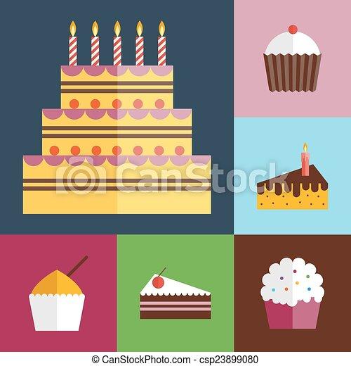 Birthday cupcakes icons set - csp23899080
