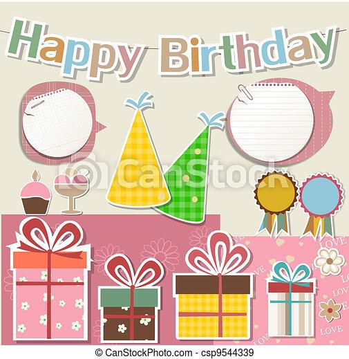 Birthday design elements for scrapbook - csp9544339