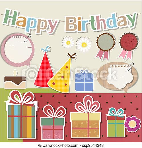 Birthday design elements for scrapbook - csp9544343