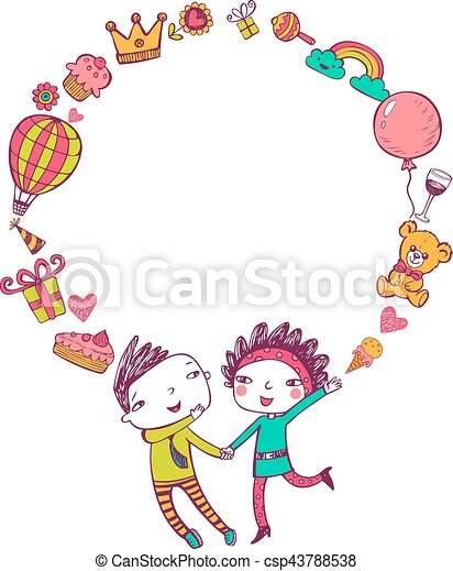 Birthday doodle frame. Birthday greeting card with happy couple and ...