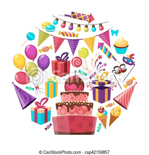 Birthday Elements Round Composition Birthday Party Isolated Cartoon