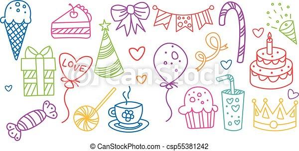 Birthday elements set, hand drawn party symbols vector illustration - csp55381242
