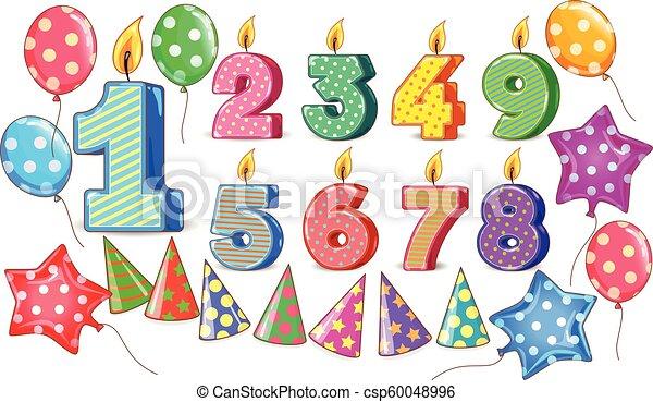Birthday figures candle balls cones bright set for design - csp60048996