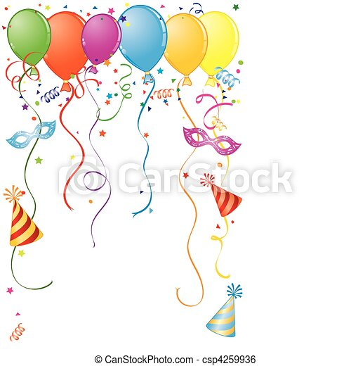Birthday frame with balloon, streamer and carnival mask, element for ...