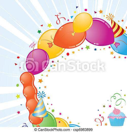 Birthday frame with balloon, streamer and party hat, element for ...
