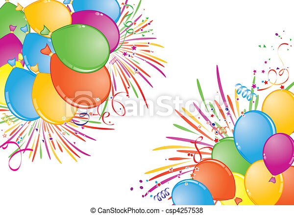 Birthday frame with balloon, fireworks and streamer, element for ...