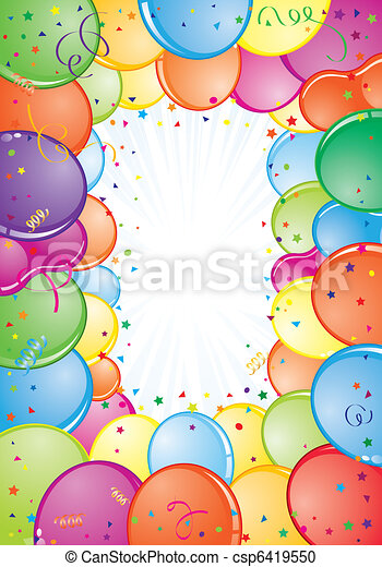 Birthday frame with balloon, streamer and confetti, element for ...