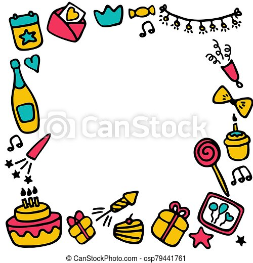 Birthday frames. Celebration b-day icon set. Hand drawn elements. Vector - csp79441761