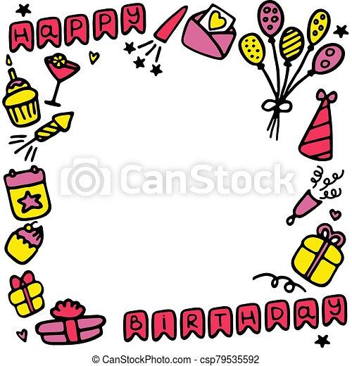 Birthday frames. Celebration b-day icon set. Hand drawn elements. Vector - csp79535592