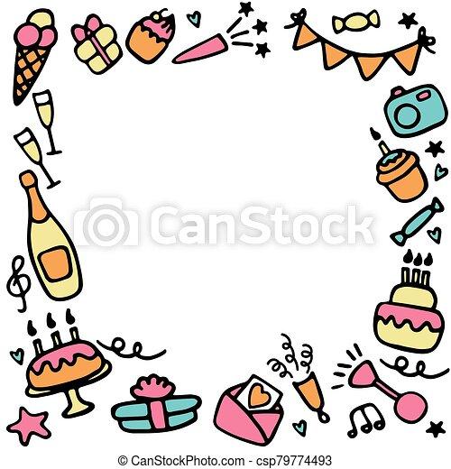 Birthday frames. Celebration b-day icon set. Hand drawn elements. Vector - csp79774493