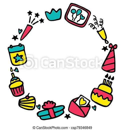 Birthday frames. Celebration b-day icon set. Hand drawn elements. Vector - csp79346849