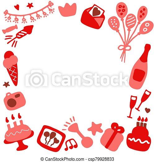 Birthday frames. Celebration b-day icon set. Hand drawn elements. Vector - csp79928833