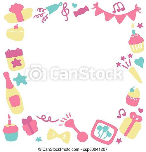 Birthday frames. Celebration b-day icon set. Hand drawn elements. Vector - csp80041207