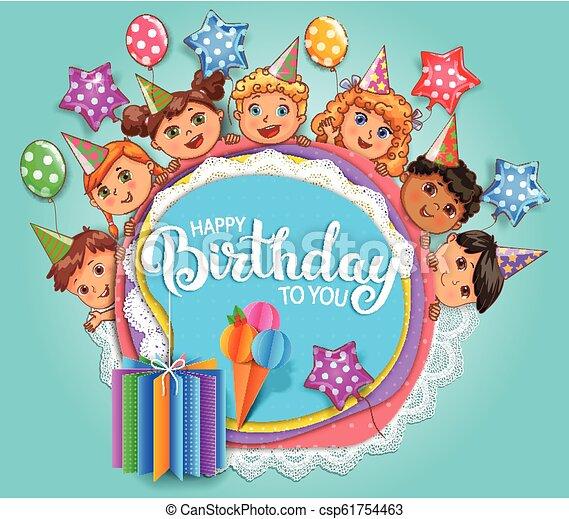 Birthday fun card with cute kids - csp61754463