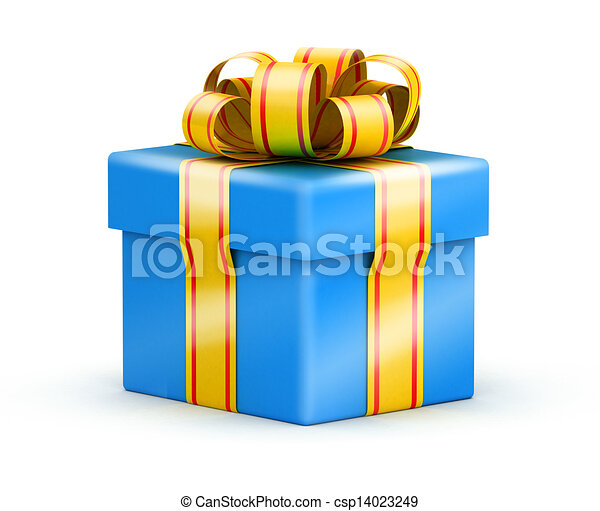 Birthday Gift Box Isometric View On Blue Gift Box With Ribbons On