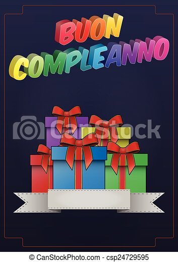 Birthday Gift Italian Illustration Of Happy Birthday Text With Gift In Italian Language Canstock