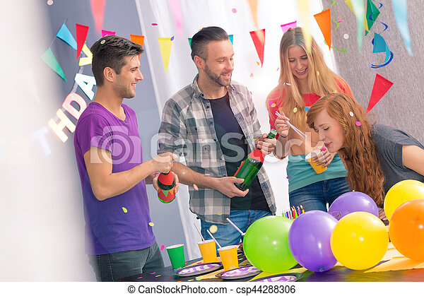 Birthday girl and cake - csp44288306