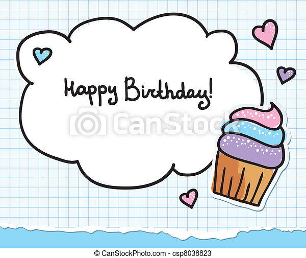 Vectors of birthday greeting card with cute cupcake and hearts – Cute Birthday Greeting Cards