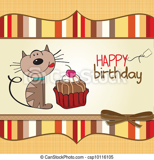 birthday greeting card with a cat - csp10116105