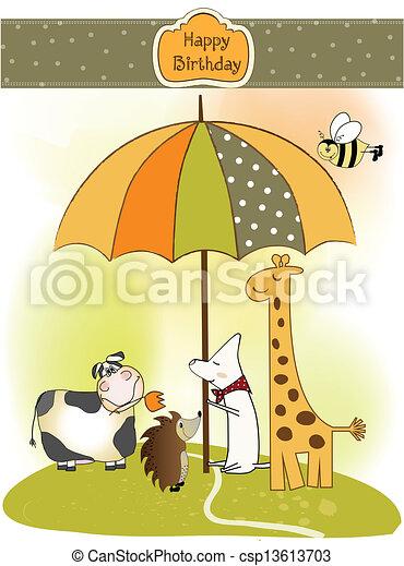 Birthday Greeting Card With Animals