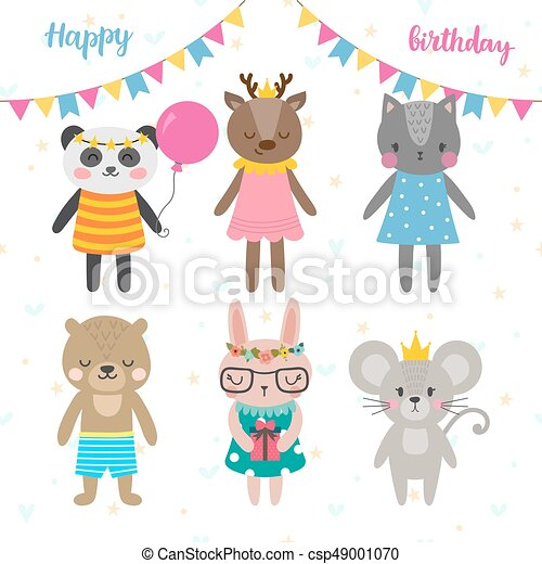 Birthday Greeting Card With Funny Cartoon Animals Cute Background