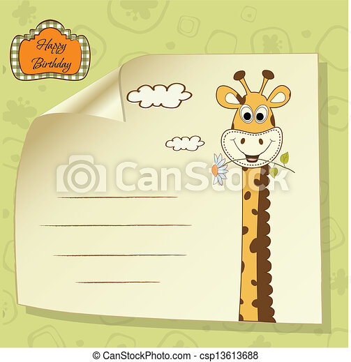 Birthday Greeting Card With Giraffe