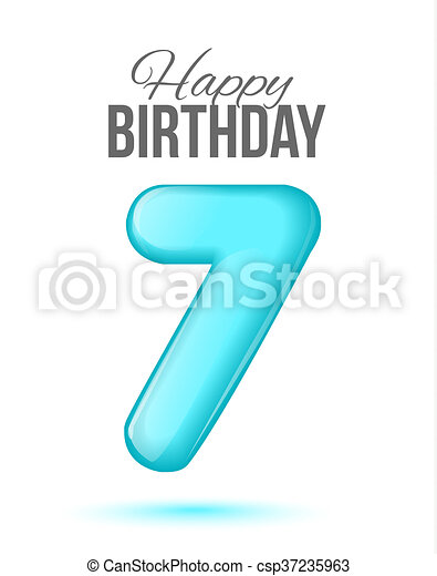 Birthday Greeting Card With Numbers 7