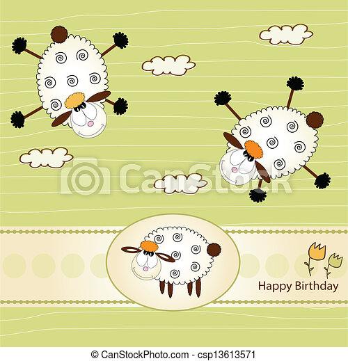 Birthday Greeting Card With Sheep