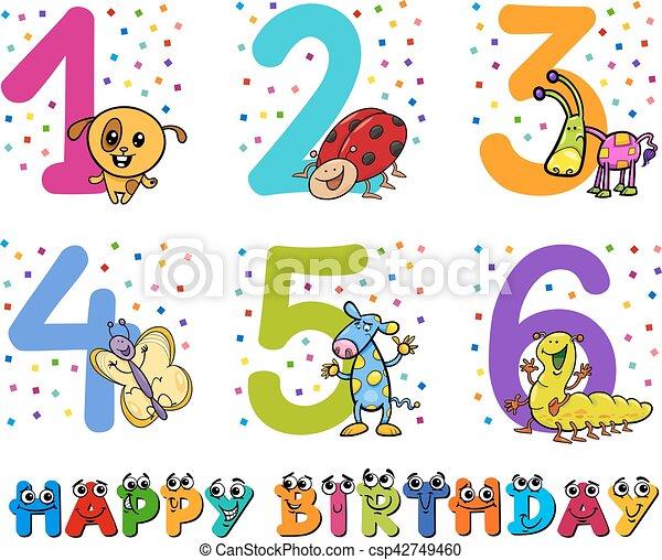 Birthday greeting cards collection cartoon illustration design of birthday greeting cards collection csp42749460 m4hsunfo